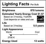 a chart describing the lighting facts of a particular bulb