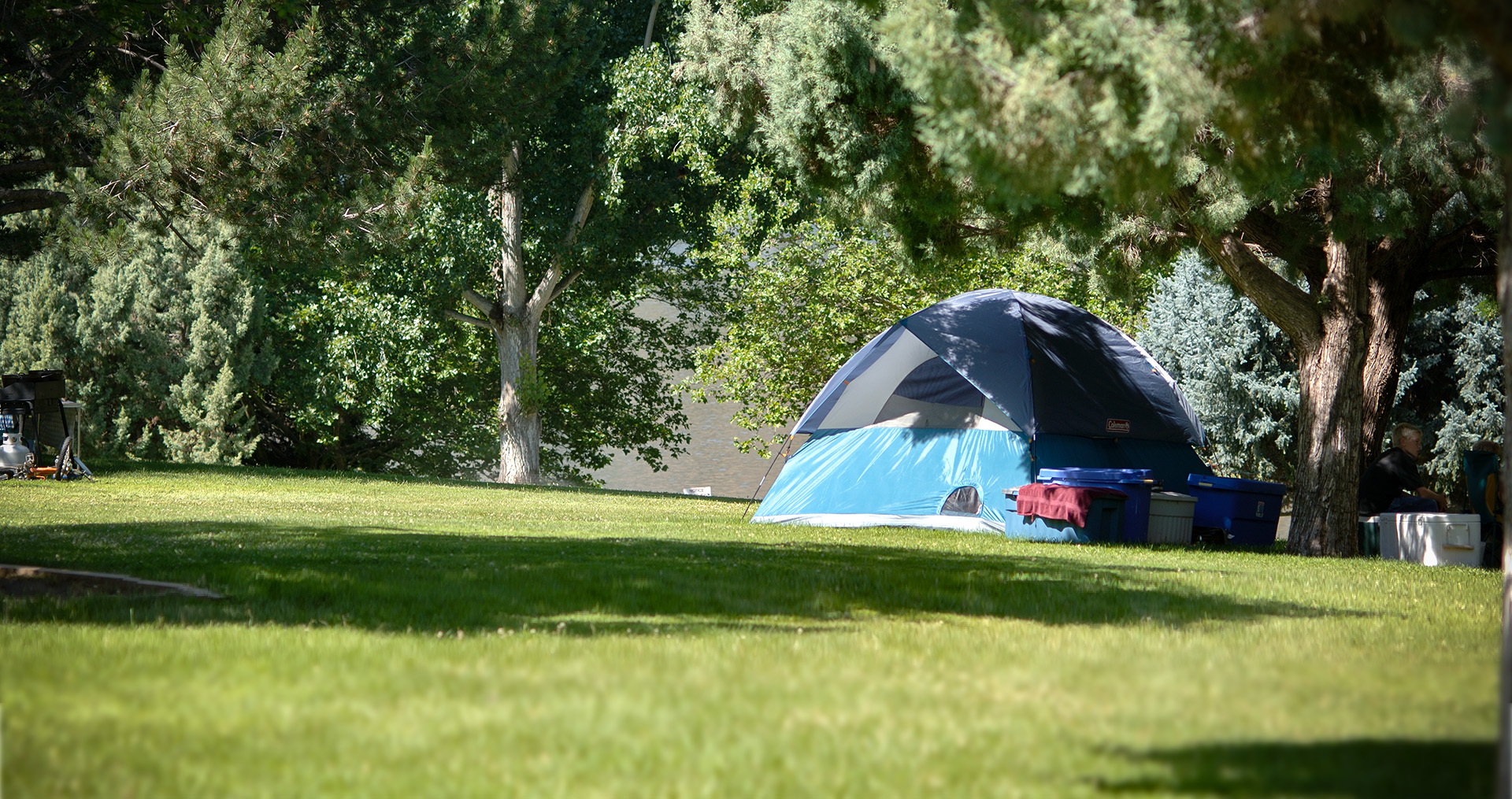 a tent in a campground