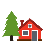 illustration of a house with a pine tree in the front yard