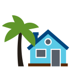 illustration of a house with a palm tree in the front yard
