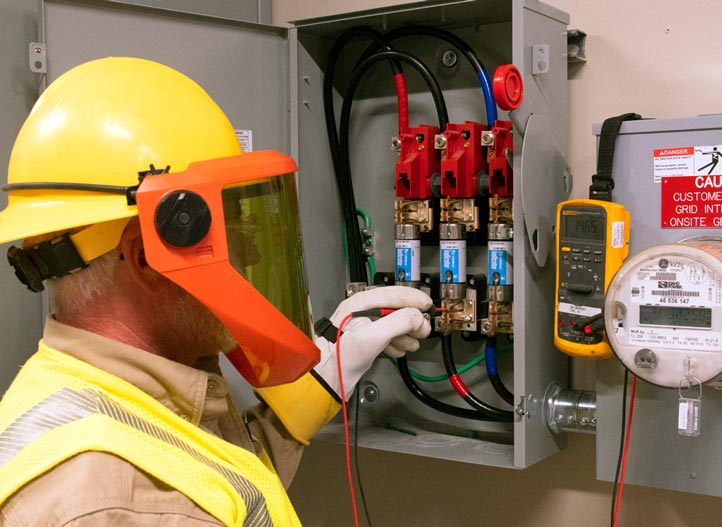 image of electrician working