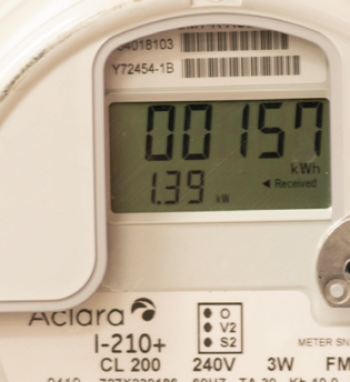 Idaho Power Aclara meter showing delivering and receiving energy for customer generation and solar panels