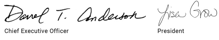 signatures of Darrel T. Anderson and Lisa Grow
