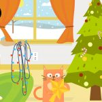 Joulie and her cat, Sparks, add energy-efficient LEDs to their holiday tree.
