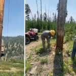Idaho Power crews clearing poles and installing fire barrier.